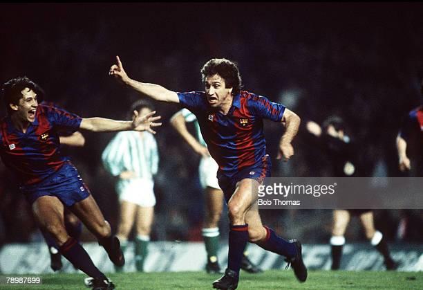 14th March 1987 Spanish League Barcelona 2 v Real Betis 0 Barcelona's Esteban celebrates scoring the 1st goal as Gary Lineker joins in the...