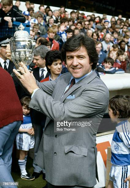 14th May 1983, Division 2, Queens Park Rangers' Manager Terry Venables holds the Division 2 Championship trophy