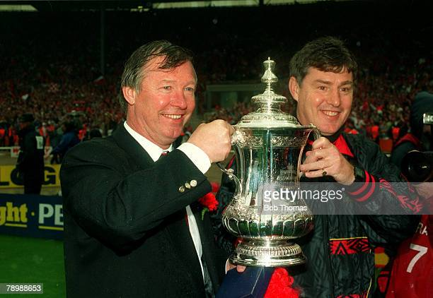 14th May 1994 FA Cup Final at Wembley Chelsea 0 v Manchester United 4 Manchester United Manager Alex Ferguson and his Assistant Brian Kidd celebrate...