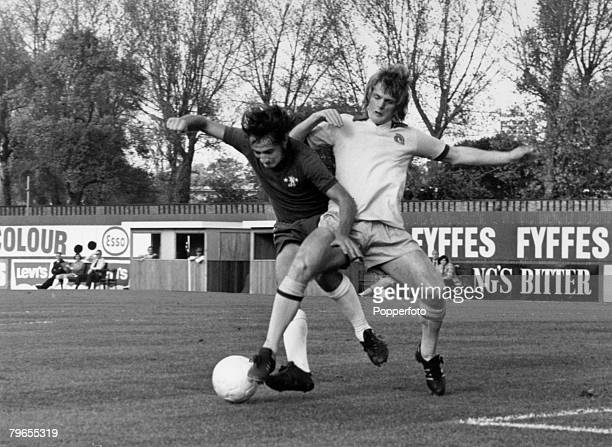 14th October 1972 Division 1 Chelsea 3 v West Bromwich Albion 1 West Bromwich Albion's Len Cantello right in a battle for the ball with Chelsea's...