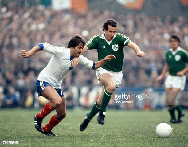 14th October 1981 World Cup Qualifier in Dublin Republic of Ireland 3 v France 2 Republic of Ireland's Liam Brady moves past France's Rene Girard