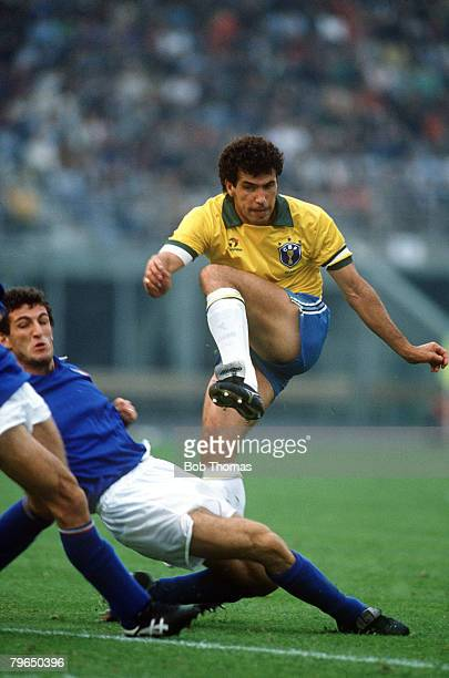 14th October 1989 Friendly International in Bologna Italy v Brazil Brazil's Careca shoots past Italy defender Ciro Ferrara Careca a striker moved to...