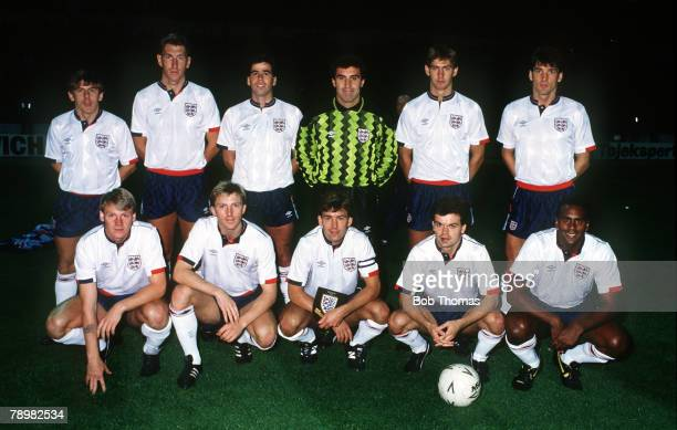 14th September 1988 Friendly International at Wembley England 1v Denmark 0 England team back row leftright Peter Beardsley Terry Butcher Neil...