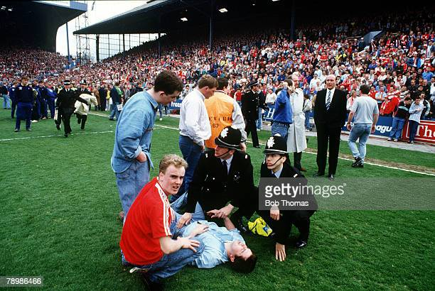 15th April 1989 FA Cup SemiFinal at Hillsborough Liverpool 0v Nottingham Forest 0 Match Abandoned Liverpool Chief Executive Peter Robinson watches as...