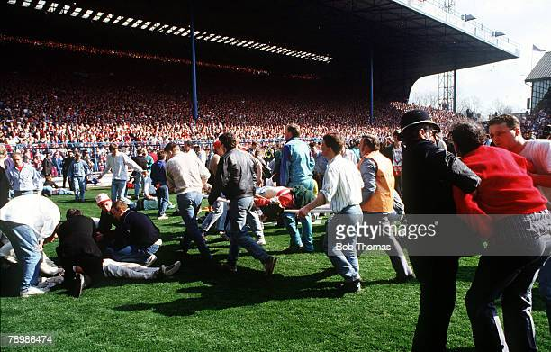 15th April 1989 FA Cup SemiFinal at Hillsborough Liverpool 0v Nottingham Forest 0 Match Abandoned Chaos as the injured are carried from the scene