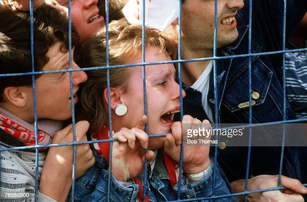 15th April 1989 FA Cup SemiFinal at Hillsborough Liverpool 0v Nottingham Forest 0 Match Abandoned Young Liverpool fans crushed against the fence