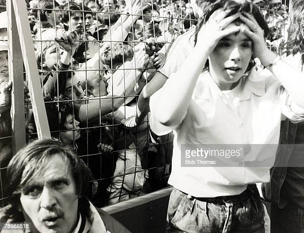 15th April 1989 FA Cup SemiFinal at Hillsborough Liverpool 0v Nottingham Forest 0 Match Abandoned Liverpool fans are crushed on the terraces fehind...
