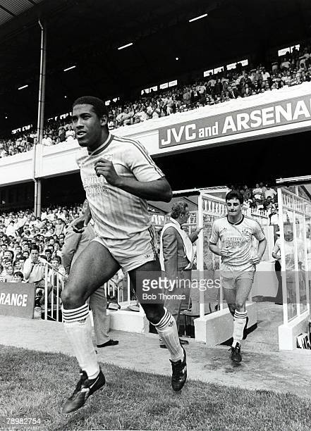 15th August 1987 Division 1 Arsenal 1 v Liverpool 2 Liverpool's John Barnes left and John Aldridge run out at Highbury for the start of the new...