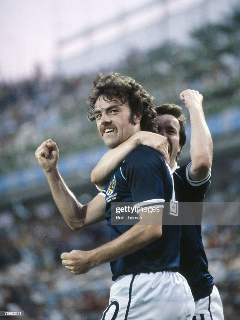 Sport. Football. pic: 15th June 1982. 1982 World Cup Finals. Scotland 5 v New Zealand 2 in Malaga. Scotland's John Wark celebrates after scoring two goals in the match. : News Photo