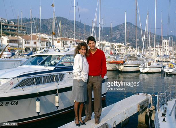 15th March 1987 Feature Barcelona's Gary Lineker with his wife Michelle at a marina near Barcelona as they enjoy the lifestyle in Spain Gary Lineker...