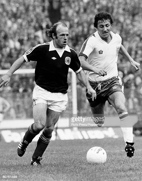 15th May 1976 Hampden Park Glasgow Scotland 2 v England 1 Scotland's Archie Gemmill on the ball as England's Roy McFarland gives chase