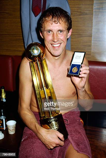 15th May 1984 Division 1 Liverpool 1 v Norwich City 1 Liverpool full back Phil Neal with the Canon League Championship Trophy and his seventh winners...