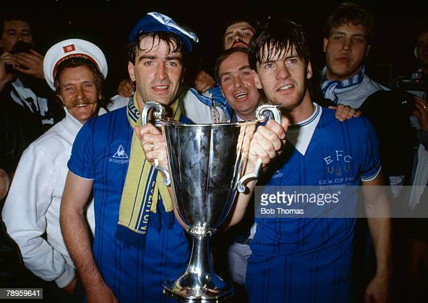 15th May 1985, European Cup Winners Cup Final in Rotterdam, Everton 3 v Rapid Vienna 1, Everton captain Kevin Ratcliffe, left, and Paul Bracewell...