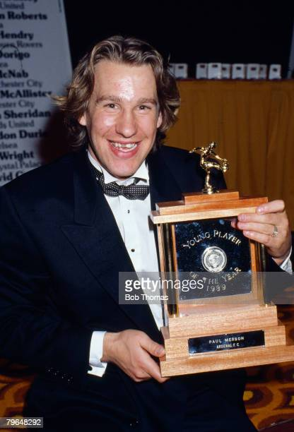 16th April 1989 PFA Awards London Arsenal striker Paul Merson the Young Player of the Year 1989Paul Merson Arsenal 19861996won 21 England...