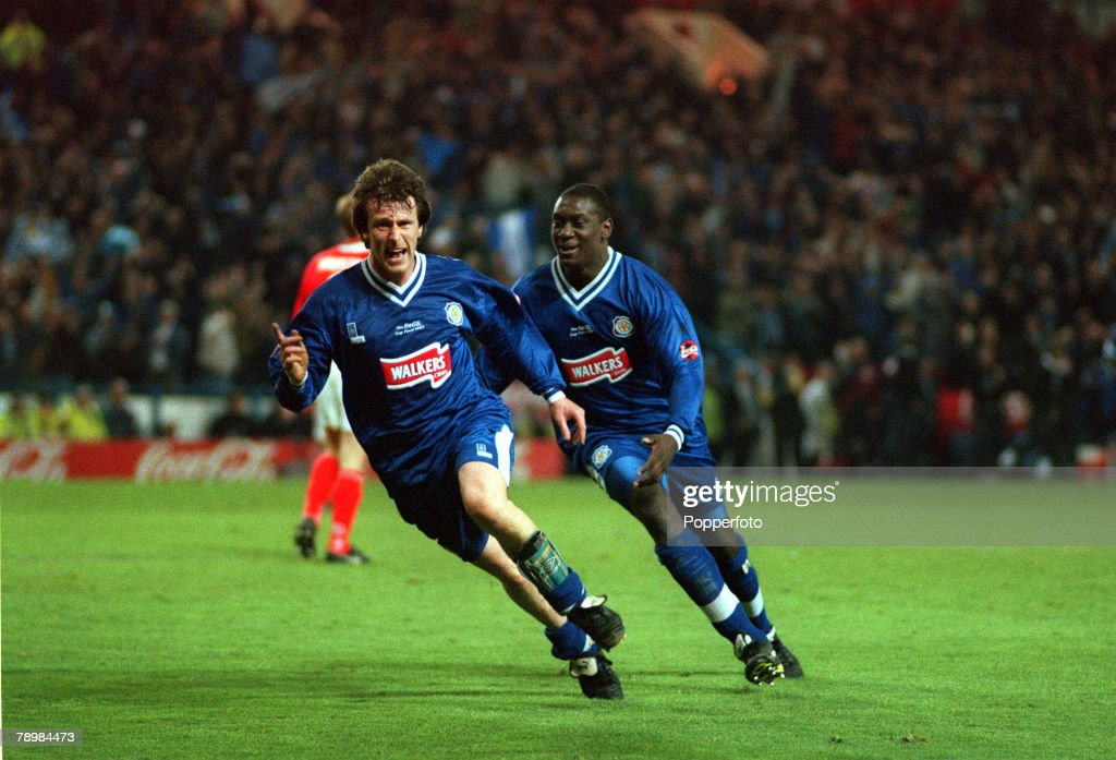 Sport. Football. pic: 16th April 1997. Coca Cola Cup Final Replay. Leicester City 1. v Middlesbrough 0. a.e.t. Leicester City's Steve Claridge, left celebrates his goal as Emile Heskey races in to join in. : News Photo