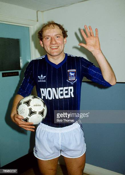 16th February 1982 Division 1 Ipswich Town 5 v Southampton 2 Ipswich Town striker Alan Brazil proudly holds the match ball after the game Alan Brazil...