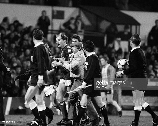 16th February 1982 Division 1 Ipswich Town 5 v Southampton 2 Ipswich Town striker Alan Brazil leaves the field the hero of the hour after scoring all...