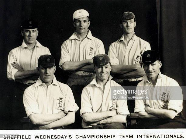 16th July 1930 Six of Sheffield Wednesday's Championship winning team of 19291930 season all England internationals Top lr AStrange ERimmer WMarsden...