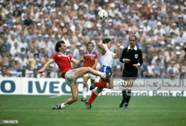 16th June 1982 1982 World Cup Finals Bilbao England 3 v France 1 England's Bryan Robson tackles France's Alain Giresse