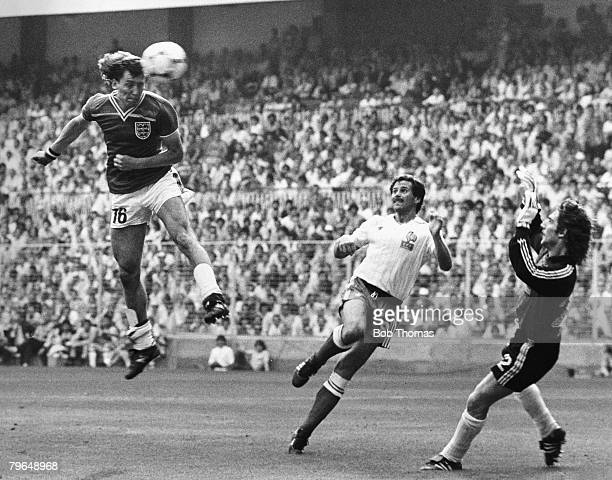 16th June 1982 1982 World Cup Finals Bilbao Spain Group Four England 3 v France 1 England's Bryan Robson leaps high to head past France goalkeeper...