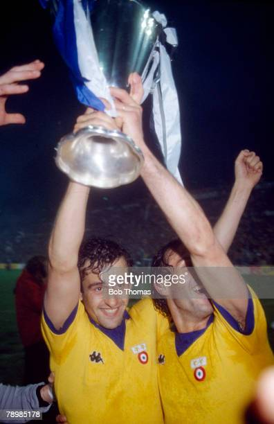 16th May 1984, European Cup Winners Cup Final in Basle, Juventus 2 v Porto 1, Juventus' Michel Platini shows the trophy to the Italian fans