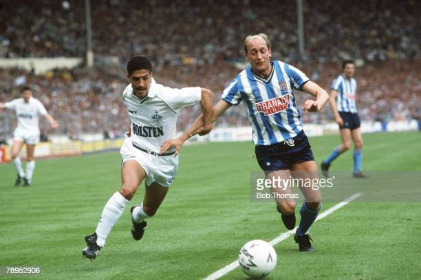16th May 1987 FA Cup Final at Wembley Tottenham Hotspur 2 v Coventry City 3 aet Tottenham Hotspur defender Chris Hughton left in a race for the ball...
