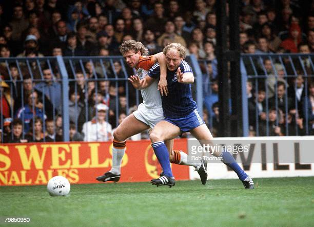 16th October 1982 Division 1 Luton Town 1 v Ipswich Town 1 Ipswich Town's Alan Brazil in a race for the ball with Luton Town defender Kirk Stephens
