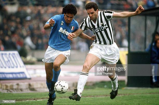 17th April 1988 Italian League Serie A Turin Juventusv Napoli Napoli's Careca left battles for the ball with Sergio Brio of Juventus Careca a striker...