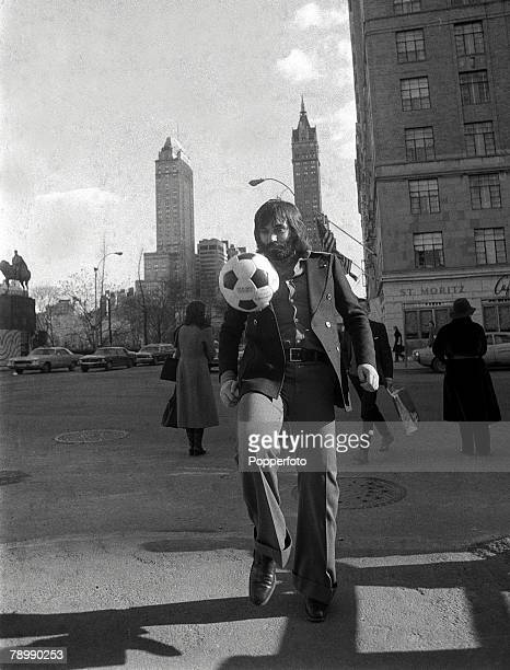17th January 1975, Superstar George Best pictured in New York where he had gone for talks on signing for New York Cosmos, talks which were not...