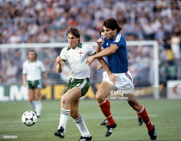 17th June 1982 1982 World Cup Finals in Spain Northern Ireland 0 v Yugoslavia 0 in Zaragoza Northern Ireland's Norman Whiteside is challenged by...