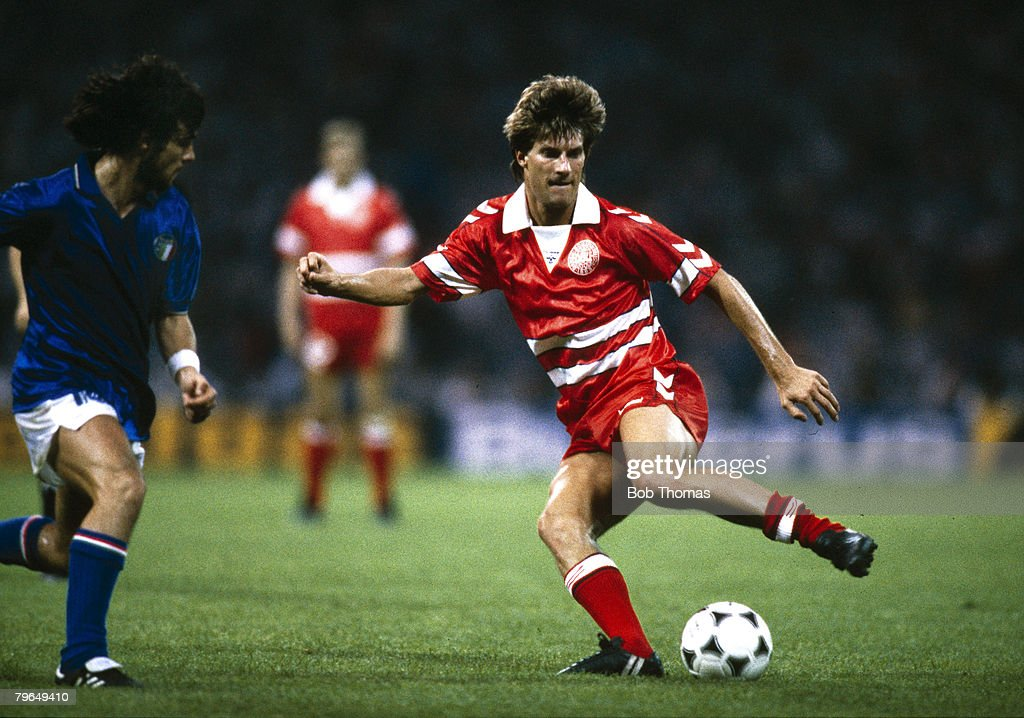BT Sport, Football, pic: 17th June 1988, Cologne, European Championship, Italy 2 v Denmark 0, Michael Laudrup, Denmark, who won 104 caps for his country : News Photo