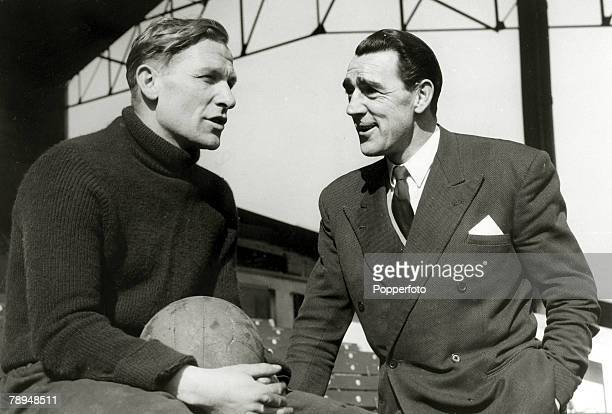 17th March 1956 Former Manchester City and England goalkeeper Frank Swift pictured chatting with the then City goalkeeper Bert Trautmann Frank Swift...