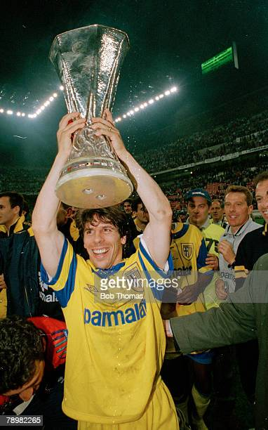 17th May 1995 UEFA Cup Final Juventus 1 v Parma 2 Parma's Gianfranco Zola holds aloft the UEFA Cup Gianfranco Zola also won 35 Italy international...