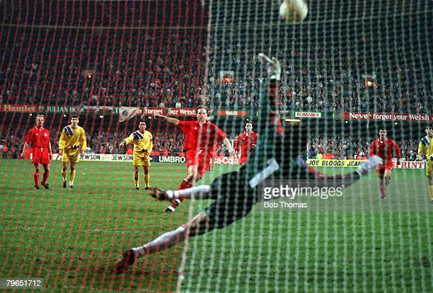 17th November 1993 World Cup Qualifier Cardiff Wales 1 v Romania 2 Wales defender Paul Bodin fails to convert his vital penalty kick costing Wales...