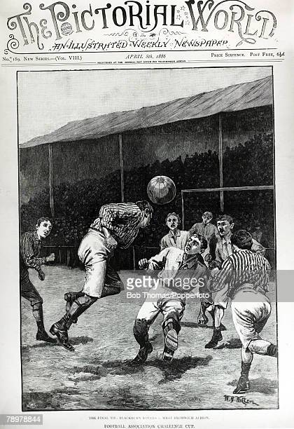 1886 FAEnglish Cup Final Blackburn Rovers 0 v West Bromwich Albion 0 at Kennington Oval This illustration is the front cover of 'The Pictorial World'