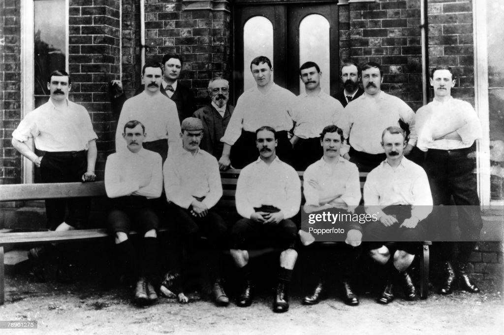 1889, Preston North End the 1889 English FA, Cup winners who beat Wanderers 3-0 at Kennington Oval, Preston, Back row,l-r, G, Drummond, R,Howarth, R,Hanbury M,P (Chairman), W,Tomlinson, D, Russell, R, Holmes, W, Suddell (Chairman), J,Graham, R,Mills-Roberts, Front row, l-r, J,Gordon, J,Ross, J,Goodhall, F,Dewhurst, S,Thomson