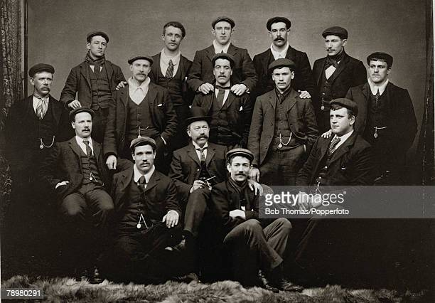 Sheffield United FC, the 1899 English FA,Cup winners, showing the players wearing their medals attached to their watch chains, The successful team...