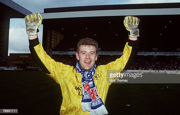 18th April 1992 Scottish Premier Division Rangers 4 v St Mirren 0 Rangers' goalkeeper Andy Goram celebrating the Championship win