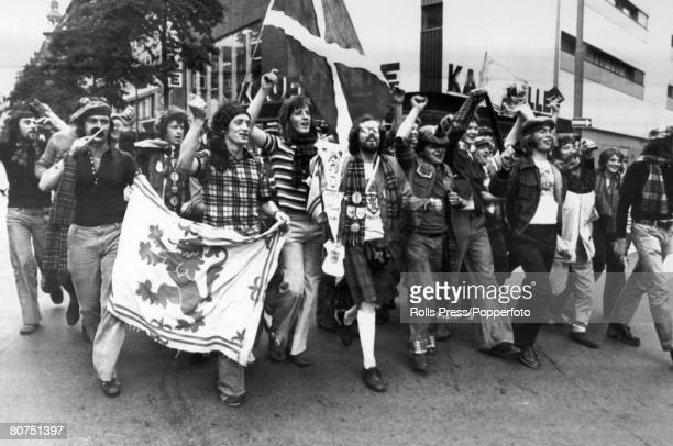 18th June 1974 1974 World Cup Finals in Germany Frankfurt Group Match Brazil 0 v Scotland 0 Scotland fans of the Tartan Army in high spirits before...