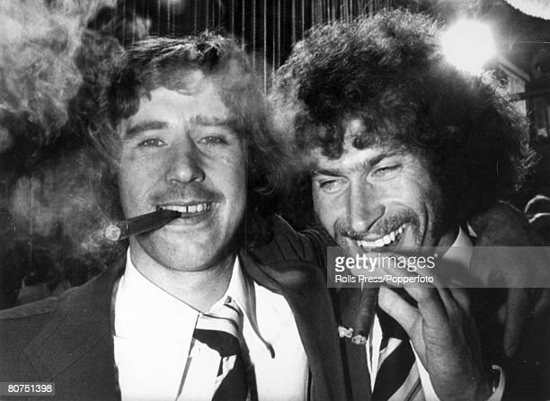 18th June 1974 1974 World Cup Finals in Germany Frankfurt Final West Germany 2 v Holland 1 World Cup winners West Germany's Gerd Muller left and Paul...
