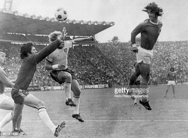 18th June 1974 1974 World Cup Finals in Germany Hamburg Group Match West Germany 3 v Australia 0 West Germany's Gerd Muller right leaps high to head...