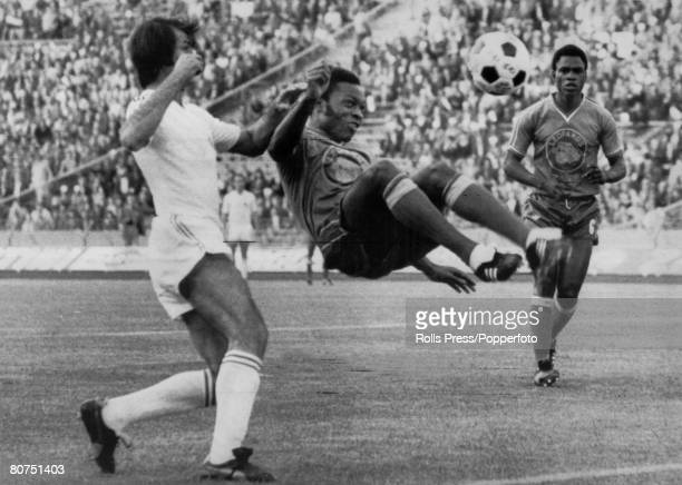 18th June 1974 1974 World Cup Finals in Germany Gelsenkirchen Group Match Yugoslavia 9 v Zaire 0 Zaire defender Ilunga Mwepu clears with an acrobatic...