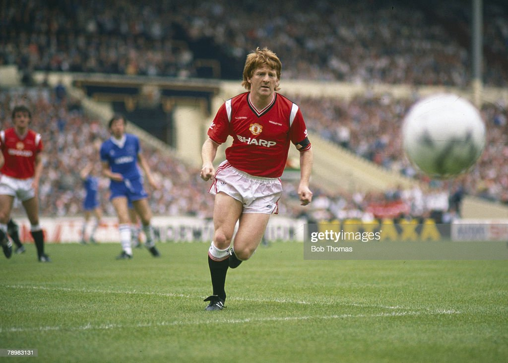 Sport. Football. pic: 18th May 1985. FA Cup Final at Wembley. Everton 0 v Manchester United 1 a.e.t. Gordon Strachan, Manchester United. : News Photo