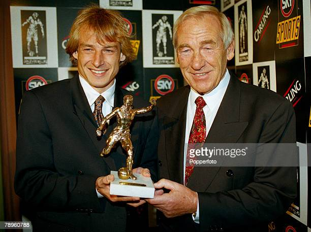 18th May 1995 Player of the Year Awards London Germany's Jurgen Klinsmann receives the Football Writers Association Player of the Year Award from the...