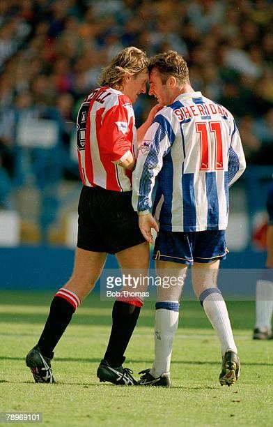 18th September 1993, FA,Carling Premiership, Sheffield Wednesday 2 v Southampton 0, Southampton's Glenn Cockerill in a confrontation with Sheffield...