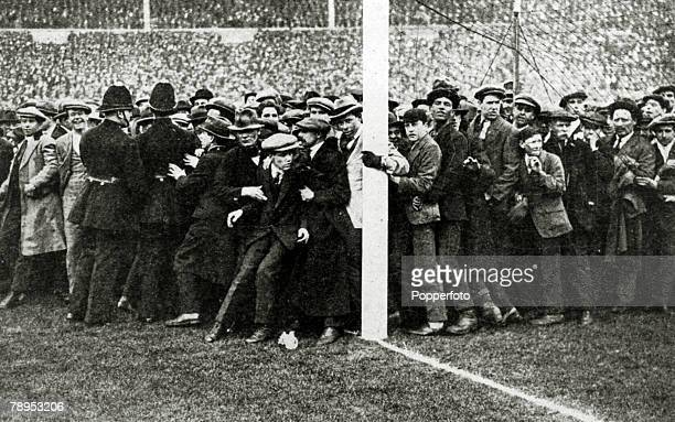 1923 1923 FACup Final at Wembley Bolton Wanderers 2 v West Ham United 0 Part of the huge crowd almost spilling over on to the pitch as policemen...