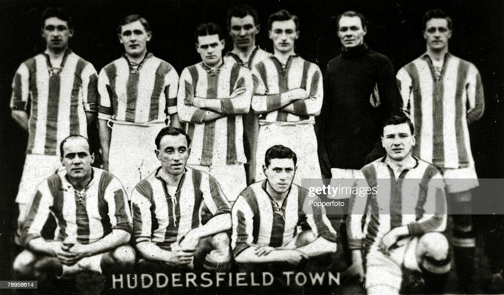 Sport. Football. pic: 1923. Huddersfield Town team group, Back row, left-right, T.Wilson, E.Barkass, E.Islip, W.H.Smith, S.J.Wadsworth, E.Taylor, W.Watson. Front row, left-right, D.Mann, C.Wilson, G.Richardson, C.Stephenson. Huddersfield were Division 1 C : News Photo