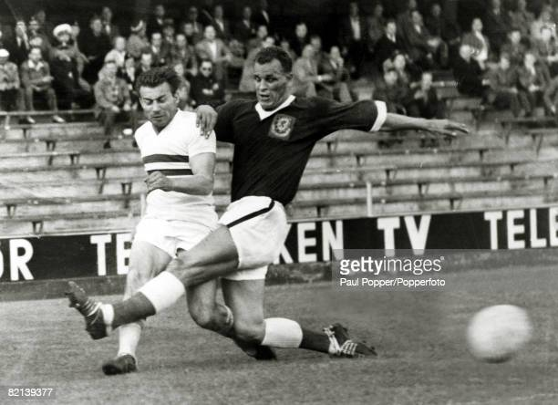 1958 1958 World Cup Finals in Sweden Wales v Hungary in Stockholm John Charles of Wales rushes in to challenge Hungary's Budai