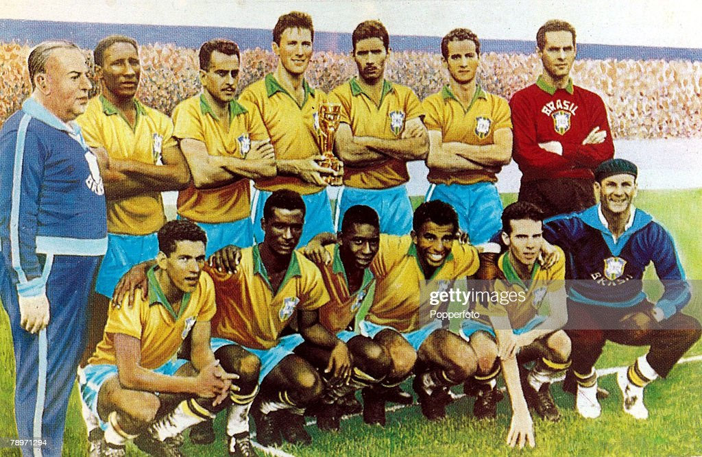 Sport. Football. pic: 1958. The 1958 Brazil World Cup winning team. Brazil, back row, l-r, V.Feola, (Chief Coach), D.Santos, Zito, Bellini, N.Santos, Orlando, Gilmar. Front row, l-r, Garrincha, Didi, Pele, Vava, Zagalo and Amaral (Physical Training Instru : News Photo