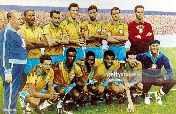 1958 The 1958 Brazil World Cup winning team Brazil back row lr VFeola DSantos Zito Bellini NSantos Orlando Gilmar Front row lr Garrincha Didi Pele...